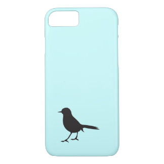 Sparrow bird black & white silhouette blue iPhone 7 case