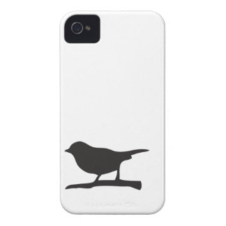 Sparrow bird branch black & white silhouette case Case-Mate iPhone 4 cases