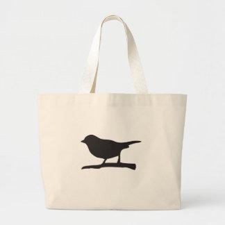 Sparrow bird &  branch black & white silhouette jumbo tote bag