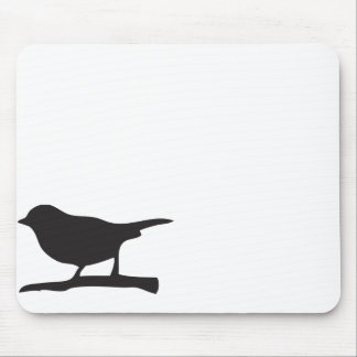 Sparrow bird &  branch black & white silhouette mouse pad