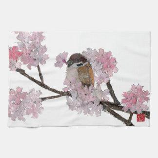 Sparrow, Cherry Blossoms Tea Towel