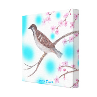 Sparrow in Cherry Blossom Tree Sky Wrapped Canvas Stretched Canvas Prints