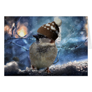 Sparrow in Snow Hat Christmas Card