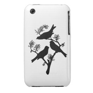 Sparrow lovebirds branch silhouette love bird chic iPhone 3 Case-Mate cases