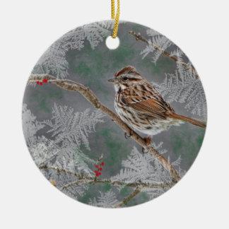 Sparrow  on twigs ornamant ceramic ornament