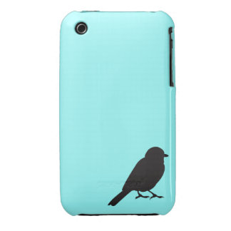 Sparrow silhouette chic blue swallow bird Case-Mate iPhone 3 case