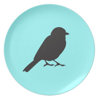Sparrow silhouette chic blue swallow bird plate
