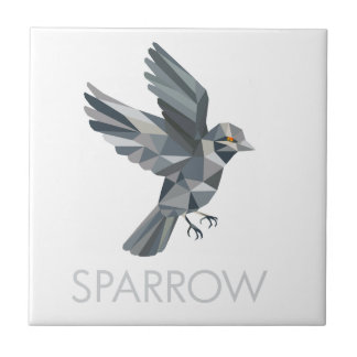 Sparrow Text Low Polygon Ceramic Tile