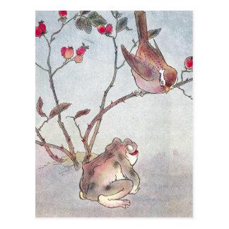 Sparrow, Toad & Rose Hips Postcard