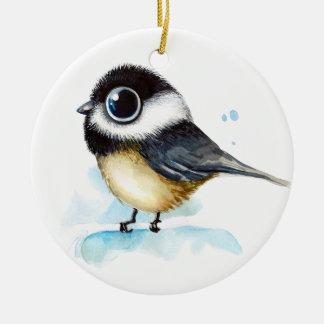 Sparrow watercolor ceramic ornament