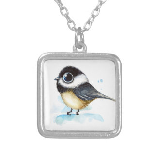Sparrow watercolor silver plated necklace