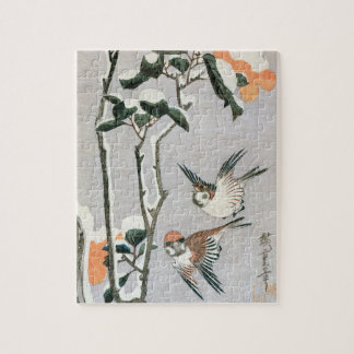 Sparrows and Camellia in Snow by Ando Hiroshige Jigsaw Puzzle