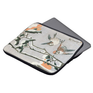 Sparrows and Camellia in Snow by Ando Hiroshige Laptop Sleeves
