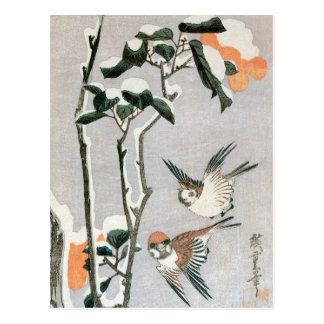 Sparrows and Camellia in Snow by Ando Hiroshige Postcard