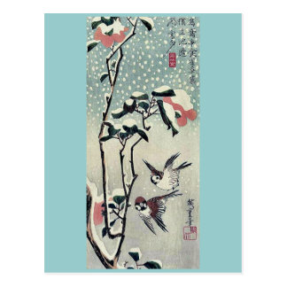 Sparrows and camellias in snow by Ando, Hiroshige Postcard
