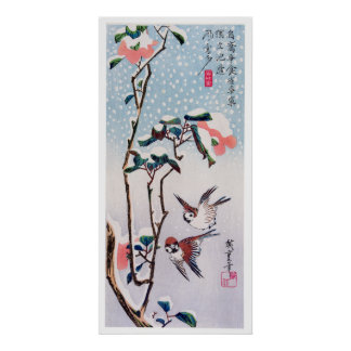 Sparrows and Camellias in Snow, Hiroshige Poster