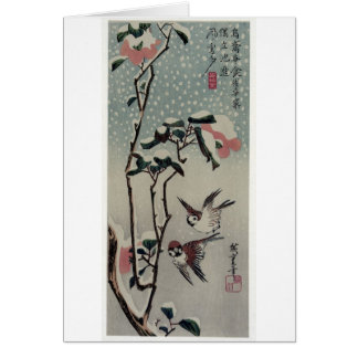 Sparrows and Camellias in the Snow. Japan. Card