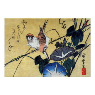 Sparrows and Morning Glory, Hiroshige Poster