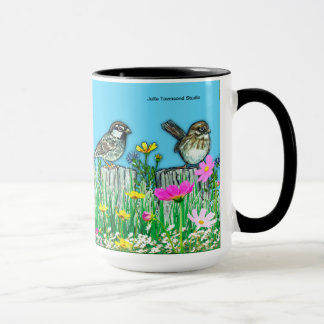 Sparrows on the Fence- Bright & colorful mug