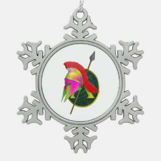 Spartan Armor and helmet Pewter Snowflake Decoration