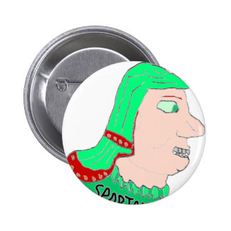 Spartan Head Logo Green and Peach Pinback Button