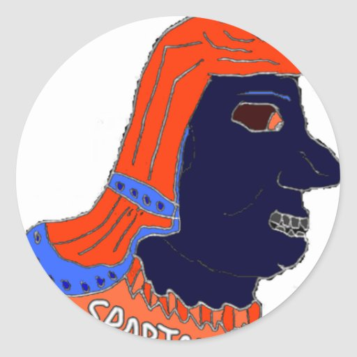 Spartan Head Logo Orange and Navy Stickers