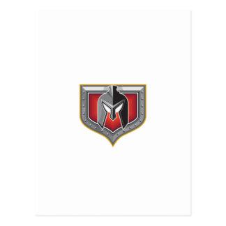 Spartan Helmet Shield Retro Postcard