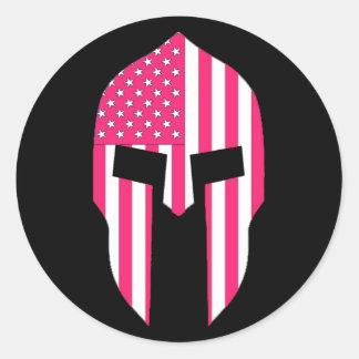 Spartan Pink Classic Round Sticker