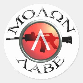 Spartan Shield/AR-15 Molon Labe Classic Round Sticker
