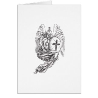 Spartan Warrior Angel Shield Rosary Tattoo Card