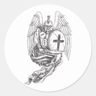 Spartan Warrior Angel Shield Rosary Tattoo Classic Round Sticker