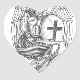34fd7a9b4570b Spartan Warrior Angel Shield Rosary Tattoo Heart Sticker