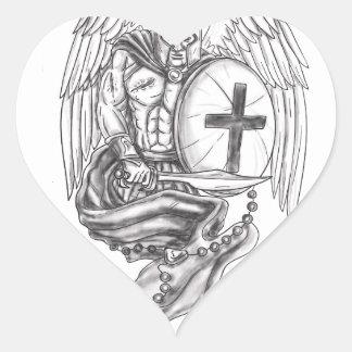 Spartan Warrior Angel Shield Rosary Tattoo Heart Sticker