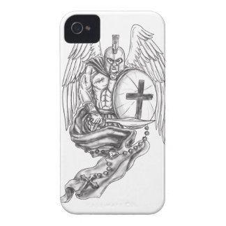 Spartan Warrior Angel Shield Rosary Tattoo iPhone 4 Case
