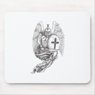 Spartan Warrior Angel Shield Rosary Tattoo Mouse Pad