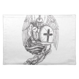 Spartan Warrior Angel Shield Rosary Tattoo Placemat