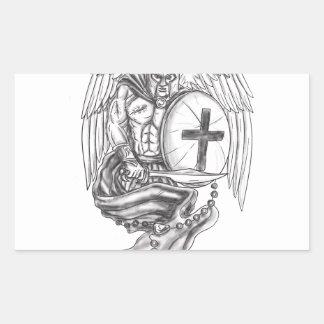 Spartan Warrior Angel Shield Rosary Tattoo Rectangular Sticker