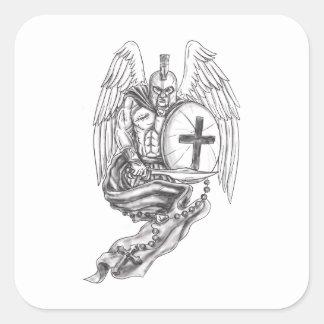 Spartan Warrior Angel Shield Rosary Tattoo Square Sticker