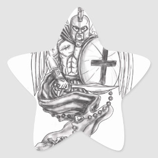 Spartan Warrior Angel Shield Rosary Tattoo Star Sticker