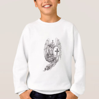 Spartan Warrior Angel Shield Rosary Tattoo Sweatshirt