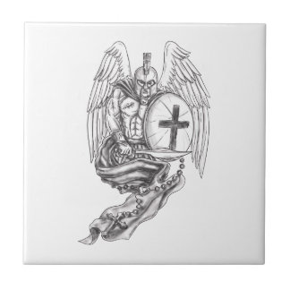 Spartan Warrior Angel Shield Rosary Tattoo Tile