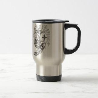 Spartan Warrior Angel Shield Rosary Tattoo Travel Mug