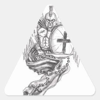 Spartan Warrior Angel Shield Rosary Tattoo Triangle Sticker