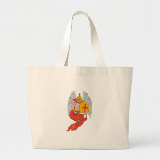 Spartan Warrior Angel Sword Rosary Drawing Large Tote Bag