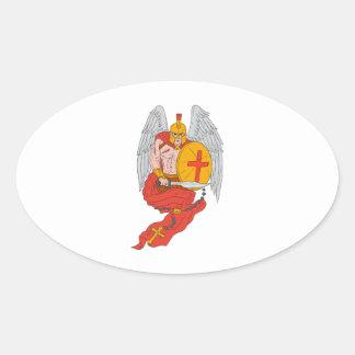 Spartan Warrior Angel Sword Rosary Drawing Oval Sticker