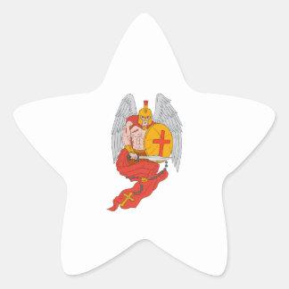 Spartan Warrior Angel Sword Rosary Drawing Star Sticker