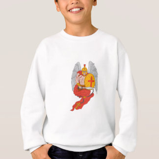 Spartan Warrior Angel Sword Rosary Drawing Sweatshirt
