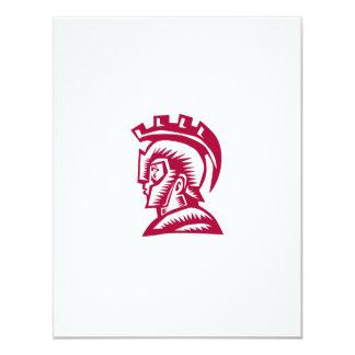 Spartan Warrior Helmet Woodcut 11 Cm X 14 Cm Invitation Card