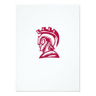 Spartan Warrior Helmet Woodcut 14 Cm X 19 Cm Invitation Card