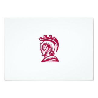 Spartan Warrior Helmet Woodcut 9 Cm X 13 Cm Invitation Card
